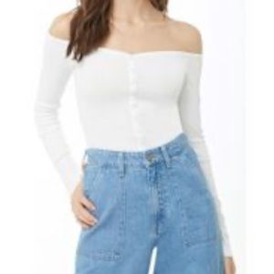 NWT Forever 21 off the shoulder ribbed top L
